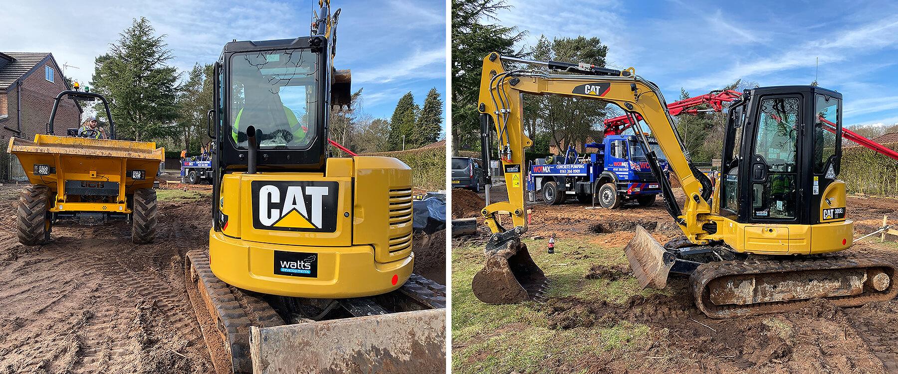 CAT digger and dumper truck