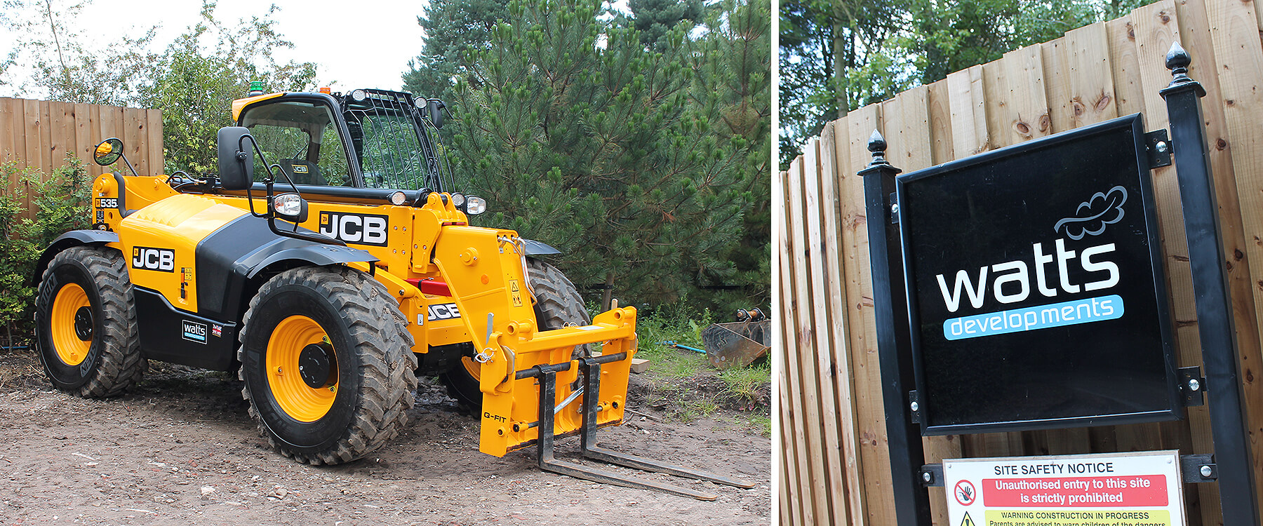 JCB 535 fork lift and site safety notice